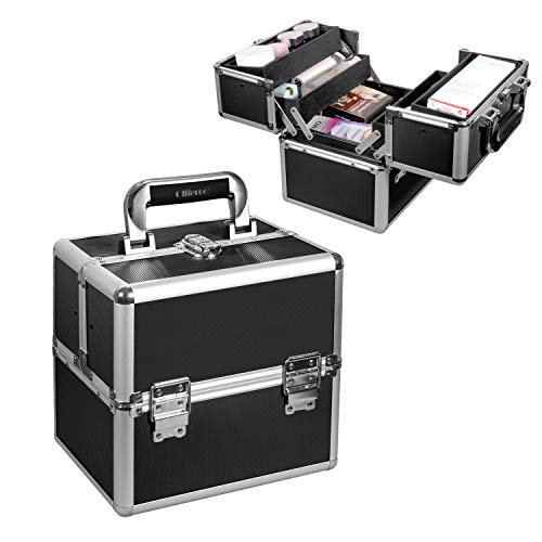 """Ollieroo Makeup Train Case Professional 9.8"""" Aluminum Make Up Cosmetic Artist Organizer with Key Lock and 4 Trays Makeup Case Makeup Trunk Caboodles Cases Makeup Storage Box (Black - 9.8"""