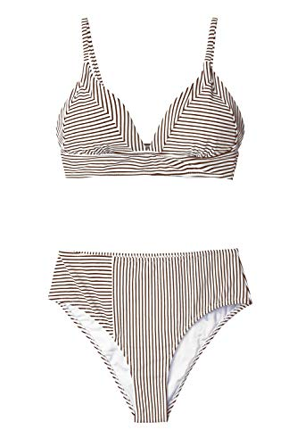 (CUPSHE Women's Brown White Stripe V Neck Bikini Small)