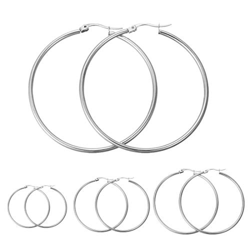 Calors Vitton 4 Pairs a Set Stainless Steel Large Hoop Earrings for Women 30-60mm Silver ()