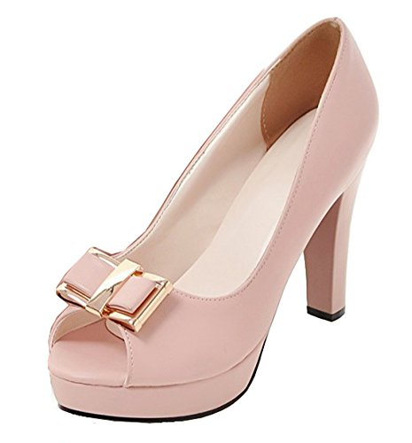 Easemax Womens Archi Dressy Grandi Tacchi Alti Slip On Wear To Work Platform Platform Peep Toe Pumps Pink