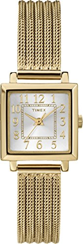 Timex #T2P440 Women's Monica Gold Tone Mesh Band Square Analog Watch