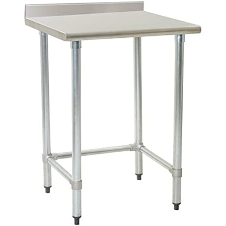 Eagle T2424GTE BS Stainless Steel Work Table With Backsplash Galvanized Tube Base 24 X 24 X 30