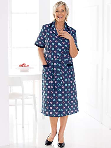 m Marineblau by Damen Hautfreundlich Blumendruckmuster Freizeitkleid Rundum collection mit 4Wy8crwq4P