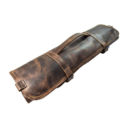 Durable Leather Knife Roll With Durable Water Resistant Canvas Lining (8 pockets) Handmade by Hide & Drink Bourbon Brown (Knife Holder Guy)