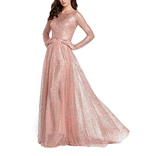 QIQIU New Womens Sexy Sequin Solid Lace Patchwork V-Neck Perspective Long Sleeve Elegant Long Party Wedding Dress Pink (Pastel Colored Mother Of The Bride Dresses)