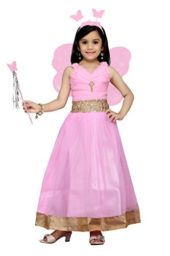 Aarika Girl's Self Design Premium Net Fabric Party Wear Gown (PARI-1771-PINK_38_14-15 Years) by Aarika
