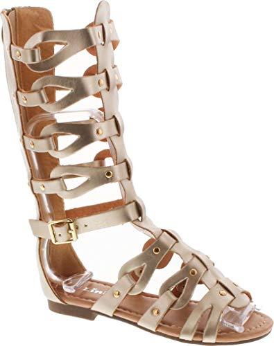 Link Atta 07K Little Girls Strappy Gladiator Comfort Flat Sandals,Gold,4 -
