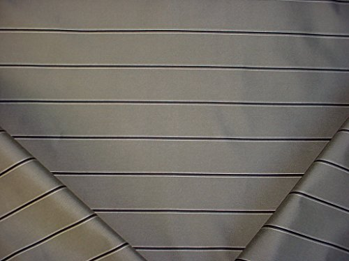 159RT15 - Grey / Black / Bright White Lined Faux Silk Stripe - To the Trade / Designer Upholstery Drapery Fabric - By the Yard