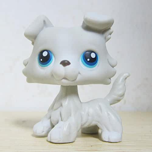 GOOD LUCK CHARM Littlest Pet Shop Collection LPS #363 Grey White Collie Puppy Dog Figure Toys