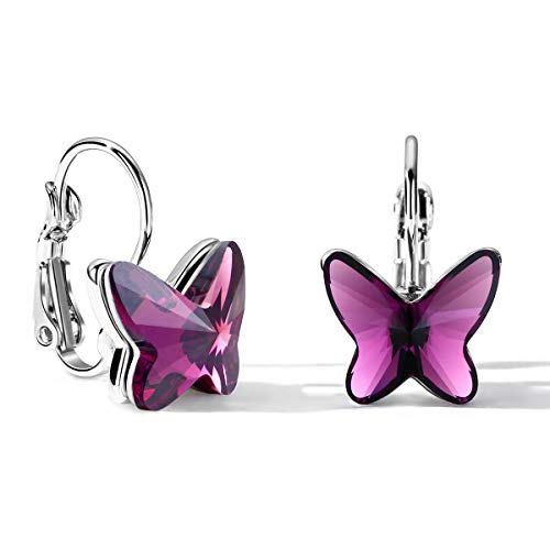 T400 Blue Purple Pink Lever Back Butterfly Crystal Earrings ♥ Birthday Gift for Women Girls ()