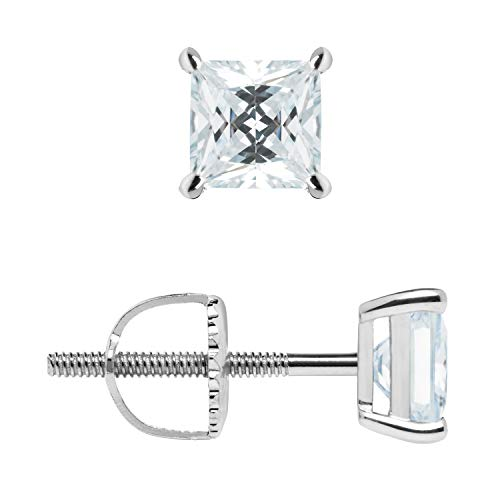 14K Solid White Gold Stud Earrings | Princess Cut Cubic Zirconia | Screw Back Posts | 1.0 CTW | With Gift Box