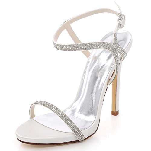 Party Scarpe L A D7216 Summer yc Da Open Tacco Prom 09 Spillo Strass Toe White Sposa Bridal Donna qzgqxrvw