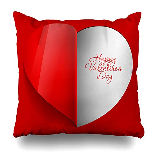 Ahawoso Throw Pillow Covers Out Pink Day Realistic Red Heart Cut Valentine Light Love Amour Bright Design Home Decor Pillowcase Square Size 16 x 16 Inches Zippered Cushion Case for $<!--$8.99-->