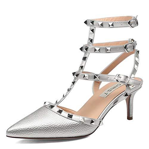 Chris-T Women Pointed Toe Studded Slingback Kitten Heel Leather Pumps
