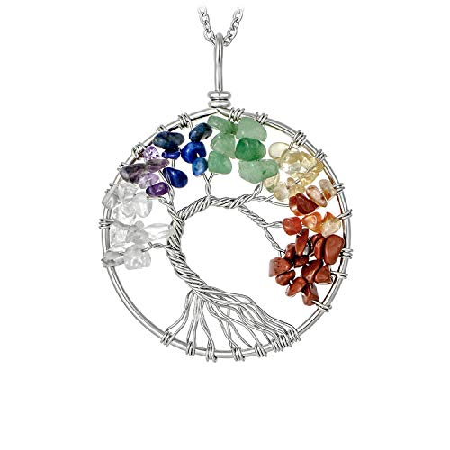 Silver Plated 7 Chakra Tree of Life Pendant Necklace Family Tree Root Multicolor Rainbow Handmade Gemstone Necklace for Women Girls