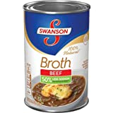 Swanson 50% Less Sodium Beef Broth, 14.5 oz. - 12 Pack