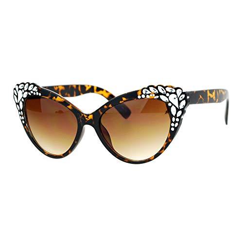 Cats Eye Rhinestone Sunglasses - SA106 Womens Rhinestone Sparkling Bling Cat Eye Fashion Sunglasses Tortoise