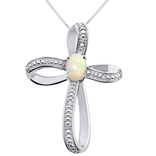 Diamond & Opal Cross Pendant Necklace Set In Sterling Silver .925 by Rylos