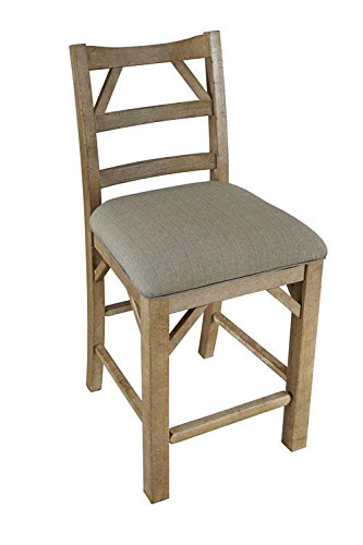 A-America West Valley Ladderback Side Chair with Upholstered Seat - 2 Chairs, Rustic Wheat