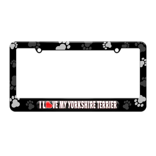 I Love Heart My Yorkshire Terrier License Plate Tag Frame - Paw Prints Design