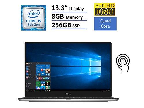 "Dell XPS 13 9360 Laptop - 13.3"" Anti-Glare InfinityEdge TouchScreen FHD (1920x1080), Intel Quad-Core i5-8250U, 256GB NVME PCIe M.2 SSD, 8GB RAM, Backlit Keyboard, Windows 10 - Silver"