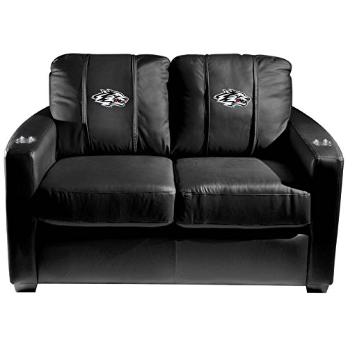 XZipit College Silver Loveseat with New Mexico Lobos Secondary Logo Panel, Black