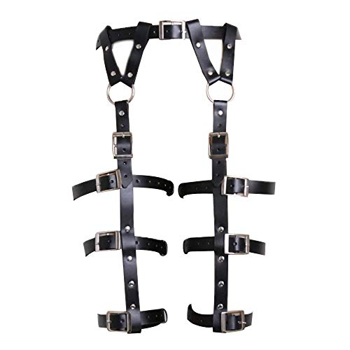 ClearUmm Women Punk Leather Harness Garter Belt Adjustable Waist Leg Cincher Cage Belt - Free Size - 6 Leg Rings