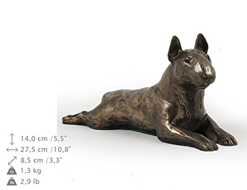 Bull Terrier (Lying), Dog Figure, Statue on Woodenbase, Limited Edition, Artdog