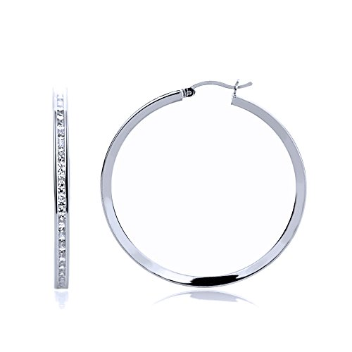 14K White Gold 2mm Intriguing Princess CZ Stone Channel Set Eternity Round Hoop Earrings, Size 12mm~40mm, 25