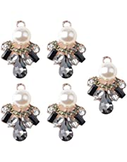 5 Pieces Gold Alloy Flower Metal Buttons Flatback Appliques Pearl Rhinestone Embellishment for Jewelry Making Charms Phone cover Craft Decoration Durable and Useful Durability and convenience