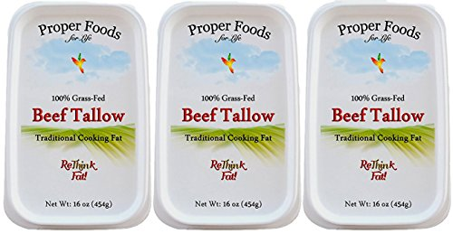 Grass-Fed Beef Tallow, All Natural, Kettle Rendered, Traditional Cooking Oil, 16 oz (Pack of 3)