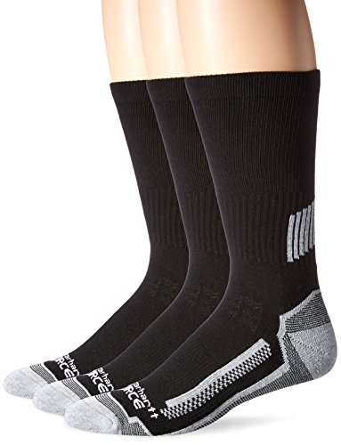 Review Carhartt Men's 3 Pack Force Performance Work Crew Socks,Black,X-Large(Shoe Size:11-15 / Sock Size: 13-15)