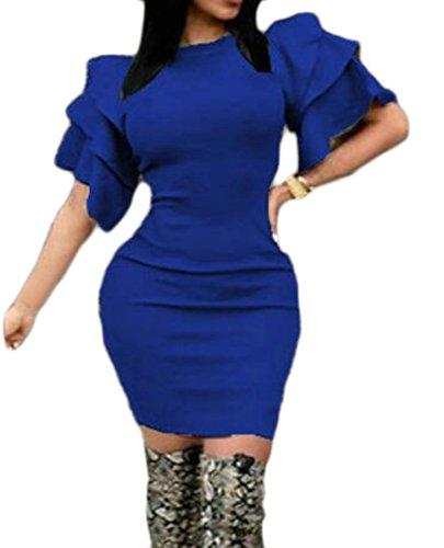 Cromoncent Femmes Sexy Ruffles Moulante Col Rond Solide Robe Courte Bleu Royal