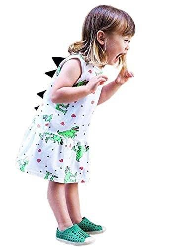 Baby Girls Sleeveless Dress Cartoon Dinosaur Rainbow Striped Summer ()