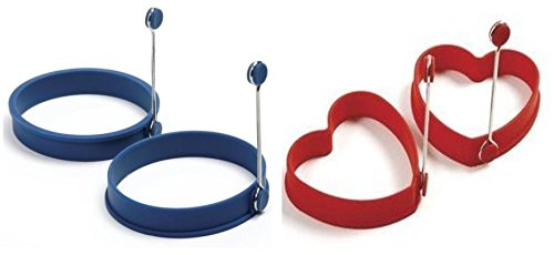 Norpro Silicone Egg Pancake Ring and Hearts (Red - Blue / 1 pair each)