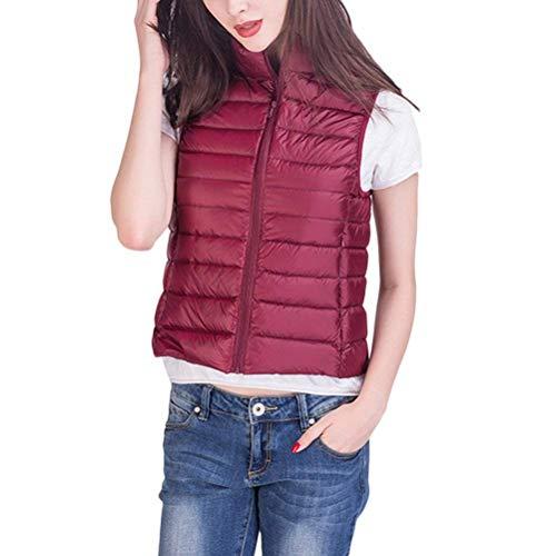 Saoye Fashion Mujer Chaleco Invierno Sin Mangas Pluma Camisolas Color Sólido Cuello Alto Bolsillos Delanteros con Cremallera Abrigos Caliente Ropa Hipster Prendas Exteriores Rojo Oscuro