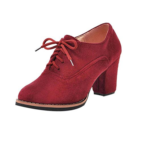 Nevera Women Solid Lace-Up High Thick Square Flock Ankle Boots Round Toe Shoes ()