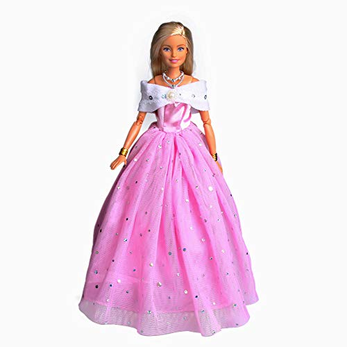 - Barbie Clothes Pink Princess Evening Party Clothes Wears Gown Dress Outfit For Barbie Dolls Include 1Pcs Barbie Clothes And 9 Pcs Accessories (pink-01)