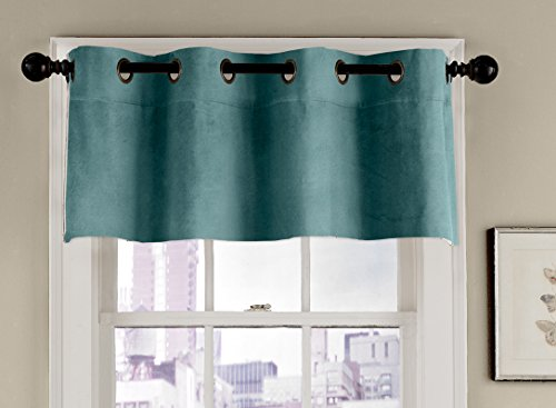 Veratex 100% Cotton Velvet Modern & Elegant Tailored Grommet Window Valance Curtain Made in The USA, Blue Smoke