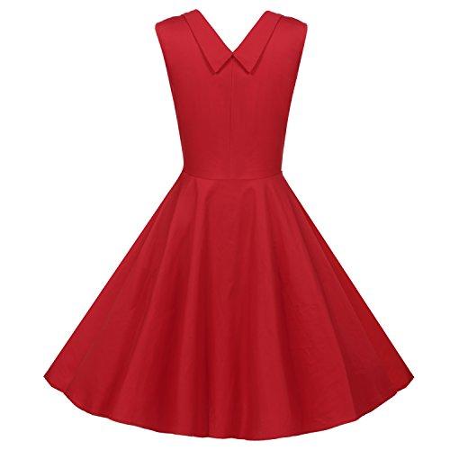 Acevog Vestidos Para Mujer Vintage Años 50 Casual Coctel Retro 1950'S Vestido de cóctel con Estampado de Flores Rojo
