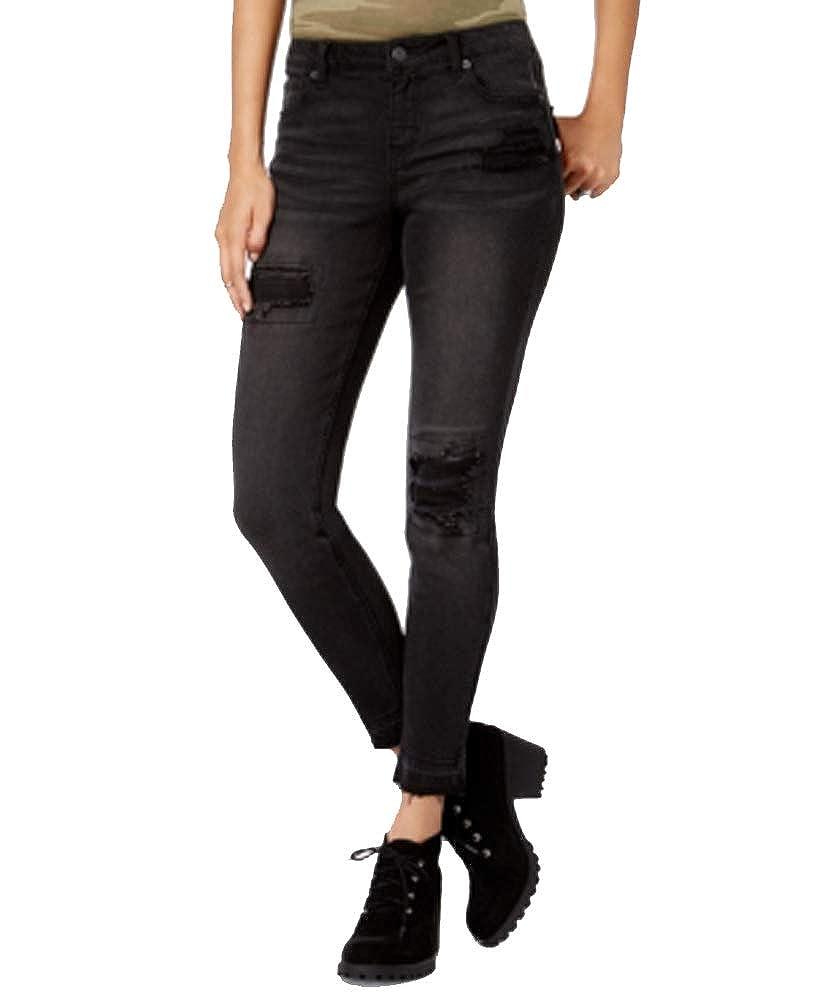 17ec7e867e0 Amazon.com: Vanilla Star Juniors' Ripped Released-Hem Skinny Jeans (Black,  11): Clothing
