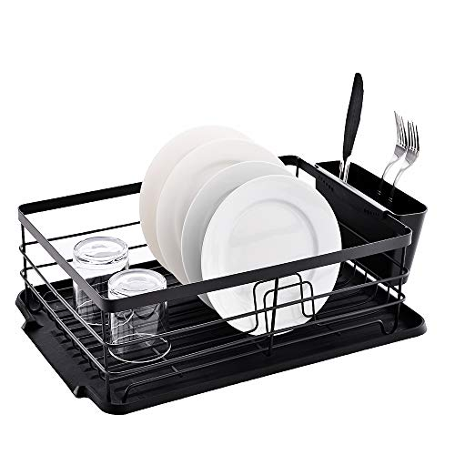 POPILION Quality Kitchen Sink Side Antimicrobial Draining Dish Drying Rack,Dish Rack with Black Drainboard (Sets Target Dish)