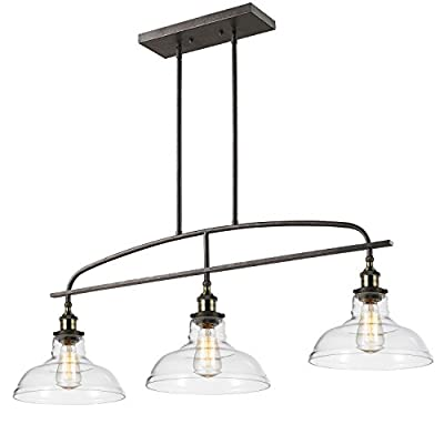 Ecopower kitchen Linear island Pendant Light Vintage Lamp Chandelier -3 Lights