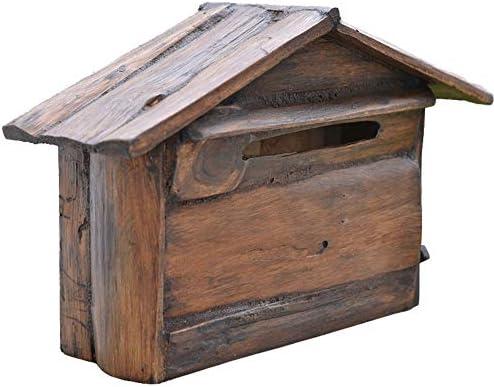 メールボックス メールボックスのヴィラウォールレタークリエイティブレトロな風力発電、水充電ボックス防水クリエイティブ 郵便ポスト ステンレスポスト (色 : 褐色, Size : 40x26x14cn)