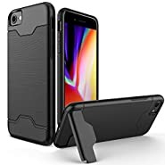 iPhone 6 Case, iPhone 6s Case, Cirso Shockproof Heavy Duty Full Protective Cover with Kickstand Dual Layer Wallet Design Case for Apple iPhone 6/6s (Black)