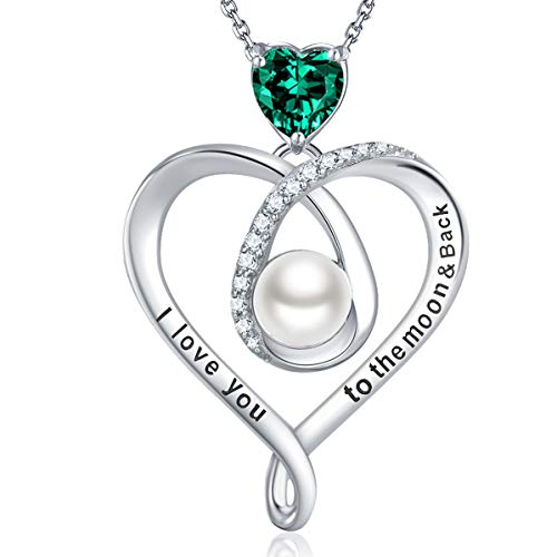 June Birthstone White Pearl Necklace Love Heart Pendant Created Green Emerald Necklace for Women Teen Girls Sterling Silver Jewelry I Love You To the Moon and Back Necklace for Mom ()