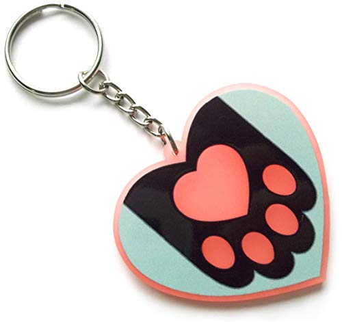 Perfect Paws Translucent Pink Acrylic Keychain by Kecky (Black)
