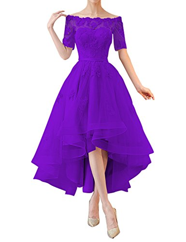Kevins Bridal Off Shoulder High Low Prom Dresses 1/2 Sleeves Bridesmaid Dress Appliques Purple Size (Impression Bridal Bridal Dress)