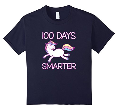 Kids 100 Days Smarter Unicorn - 100 Days of School T Shirts Girls 6 Navy for $<!--$17.99-->