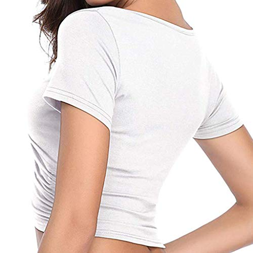 Crop Tops for Women BXzhiri Deep V Neck Short Sleeve Unique Slim Fit Coss Wrap Shirts White by Bxzhiri_Women Tops (Image #3)